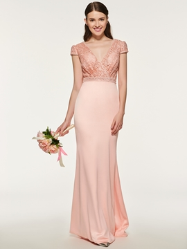 Sheath Long Lace Bridesmaid Dress