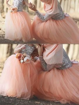 Shiny Sequins Tulle Sleeveless V-Back Flower Girl Dress
