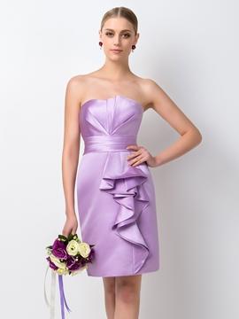 Simple Sheath-Column Strapless Bridesmaid Dress