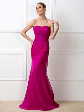 Simple Sweetheart Sheath Long Bridesmaid Dress