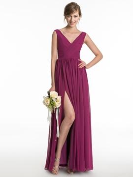 Simple V Neck Split Front Long Bridesmaid Dress