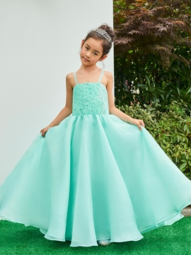 Spaghetti Straps Ankle Length Ball Gown Flower Girl Party Dress
