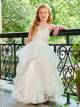 Spaghetti Straps Ball Gown Organza Satin Flower Girl Dress
