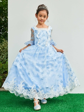 Square Half Sleeves Ball Gown Flower Girl Party Dress