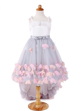 Straps Ball Gown High Low Flower Girl Dress