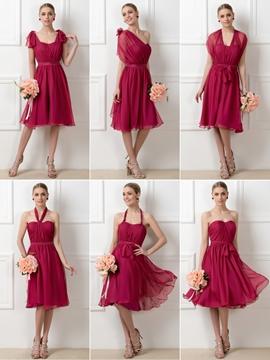 Stylish A-Line Tea-Length Convertible Bridesmaid Dress