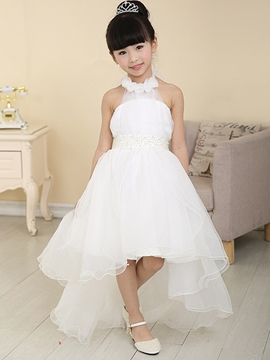 Sweet Halter Asymmetry Flower Girl Dress