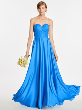 Sweetheart Appliques A Line Long Bridesmaid Dress