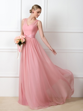 Terrific A-Line V-Neck Sashes Long Bridesmaid Dress