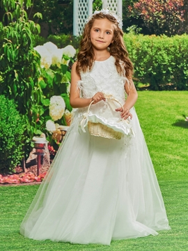 Tulle Appliques Ball Gown Flower Girl Dress