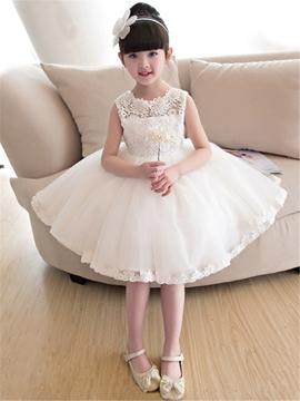 Tulle Lace Knee Length Flower Girl Dress