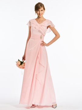 V Neck A Line Cap Sleeves Chiffon Long Bridesmaid Dress