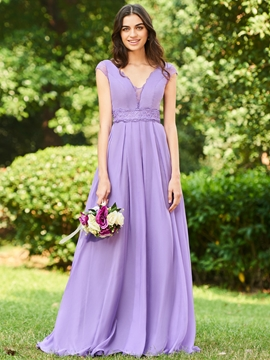 V-Neck A-Line Long Bridesmaid Dress