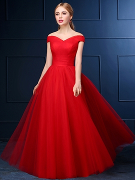 V-Neck Cap Sleeves Pleats Evening Dress
