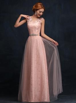 V-Neck Lace Long Bridesmaid Dress