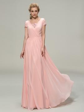 V-Neck Short Sleeves A-Line Bridesmaid Dress