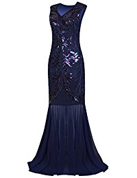 1920s Long Prom Dresses V Neck Beaded Sequin Gatsby Maxi Evening Dress
