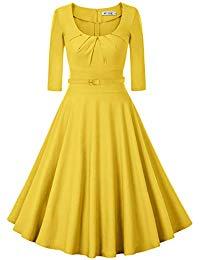 1950s Vintage Scoop Neck 3-4 Sleeve Pleated Swing Cocktail Dress