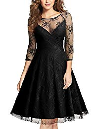 Avril Vintage Floral Lace Net 3-4 Sleeve Sexy Swing Dress