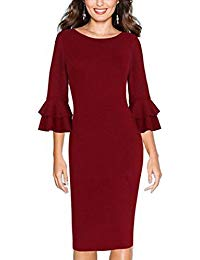 Babyonline Autumn 3-4 Sleeves Office Wear To Work Bodycon Pencil Dress