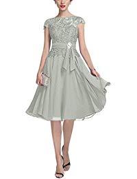 Chiffon Knee Length Mother of The Bride Dresses Cap Short Sleeves Evening Dresses