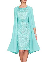 Chiffon Lace Mother of The Bride Dress Short Party Dress with Jacket
