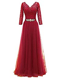 Double V Neck Tulle Appliques Long Evening Bridesmaid Gowns