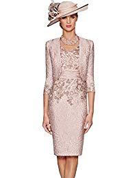 Elegant V-Neck 2 pcs Champagne Pink Bridal Mother Dresses