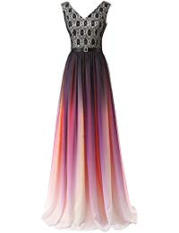 Gradient Color Chiffon Formal Evening Dress Long Prom Gown