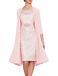 Illusion Neck Tea Length Mother of The Bride Dresses Two Pieces with Jacket