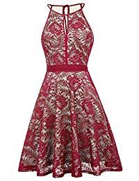 Lace Halter Sleeveless A-Line Keyhole Wedding Party Formal Dress KK638