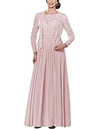 Lace Mother Of Bride Dresses Full Length With Long Sleeve Jacket
