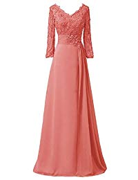 Lisa Lace Half Sleeve Mother of The Bride Formal Chiffon Evening Dress LS173