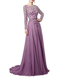 Long Lace Mother of The Bride Evening Dresses with Sleeves Coral