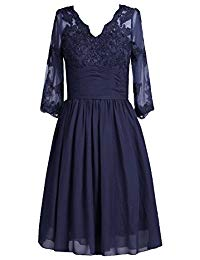 Lorderqueen V Neck Lace Short Mother of the Bride Dress With 3-4 Sleeves