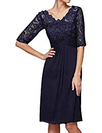 Mother The Bride Dresses Short Evening Dresses Formal Party Dress Lace Sleeves