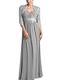 Pleat Chiffon Mother of The Bride Dress with Lace Jacket Beads Long Evening Prom Gown