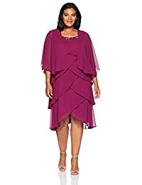 Plus Size Chiffon Tier Jacket Dress with Bead Neck