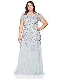 Plus Size Floral Beaded Godet Long Dress