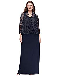 Plus Size Lace and Chiffon Two-Piece Jacket Mother of Bride-Groom Dress Style.