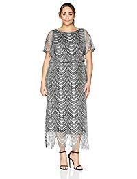 Plus Size Long Blouson Column Dress