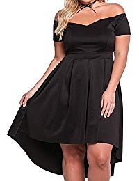 Plus Size Off Shoulder Pleated High Low Maxi Wedding Cocktail Dress size 3XL (Black)