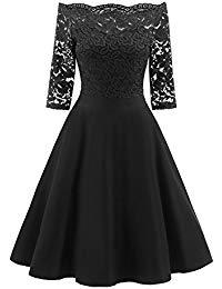 Prom Dress Vintage Lace Half Sleeves Off Shoulder Evening Party Formal Swing Dresses