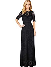Retro Floral Lace Half Sleeve Formal Wedding Party Maxi Dress