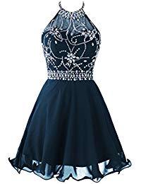 Short Beaded Prom Dress Halter Homecoming Dress Backless