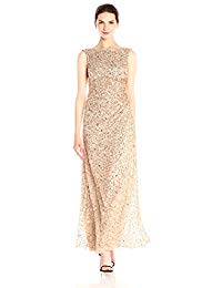 Sleevless Cowl Back Beaded Long Gown