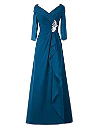 V-Neck Chiffon Mother of The Bride Dresses Long A-Line Half Sleeves Evening Formal Gowns Plus Size KB120