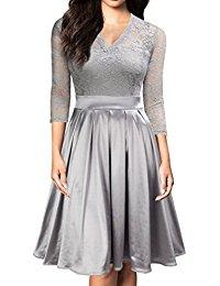 Vintage 1930s Style 3-4 Sleeve Black Lace A-line Party Dress