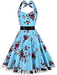Vintage Polka Dot Halter Dress 1950s Floral Sping Retro Rockabilly Cocktail Swing Tea Dresses