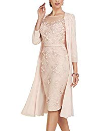 2 Pieces Pink Lace Chiffon Mother of The Bride Dresses with 3-4 Sleeves with Long Jacket